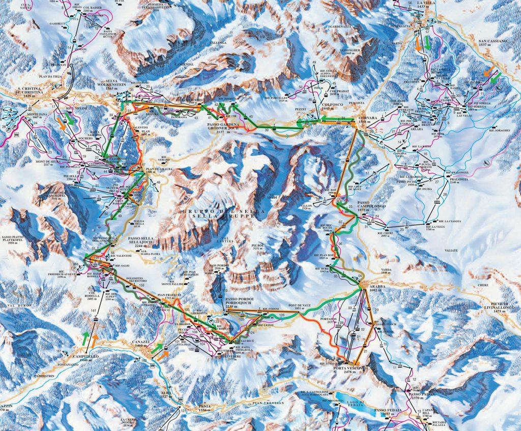 Sellaronda Ski Map
