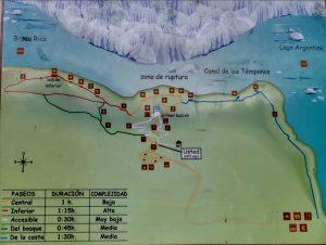 Mappa passerelle Perito Moreno