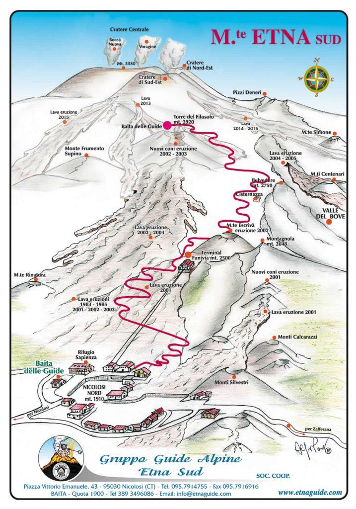 Mappa ascesa ai Crateri Sommitali, Etna