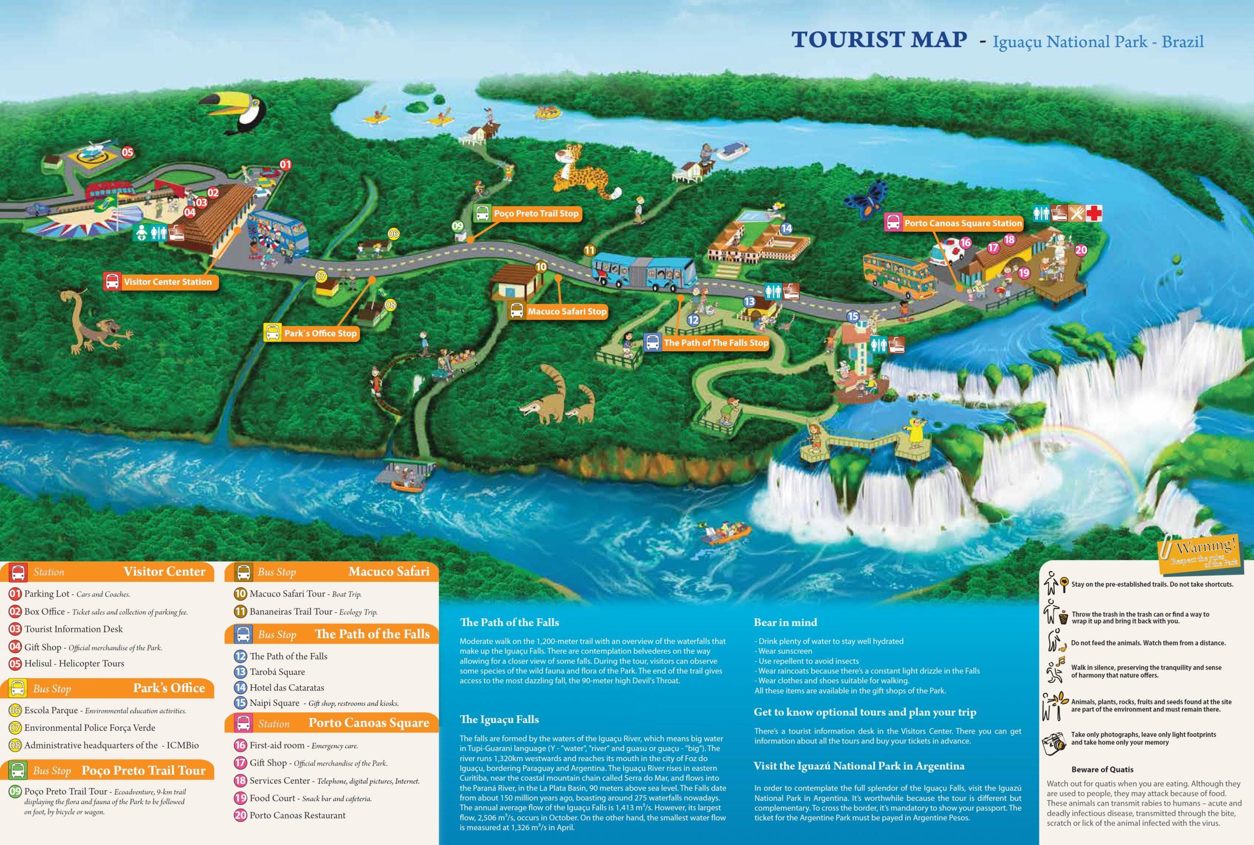 Mappa cascate di Iguazu lato brasiliano