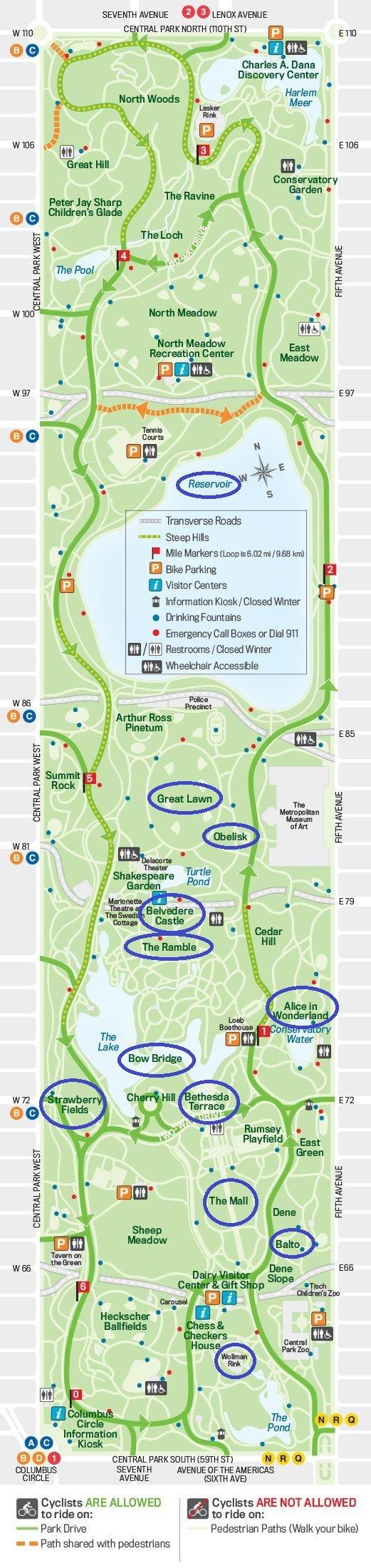 Mappa di Central Park, New York